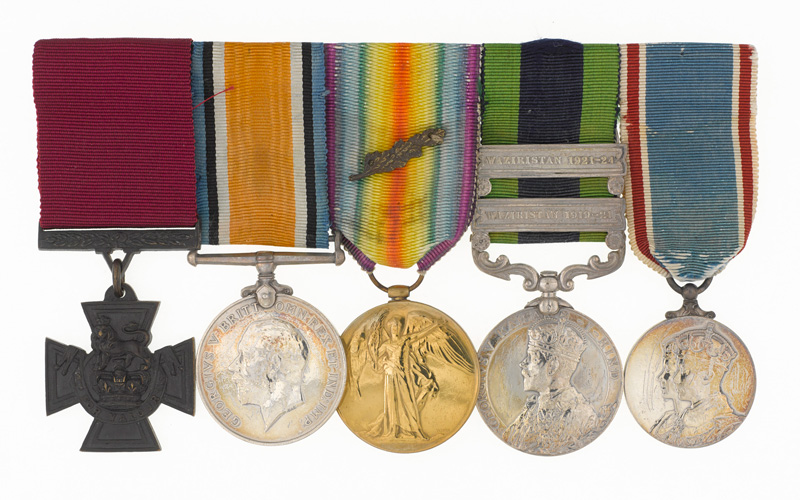George's Victoria Cross (far left) won at Kut and other medals from his service