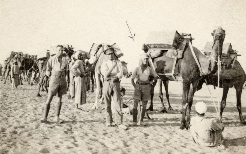 Joseph with the Egyptian Camel Transport Corps carrying water in Palestine, 1917