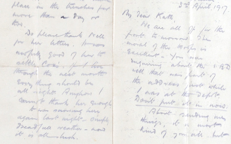 Letter from Second Lieutenant Douglas McKie to his sister Kate in which he wishes for a 'Blighty' a wound to send him home, 3 April 1917