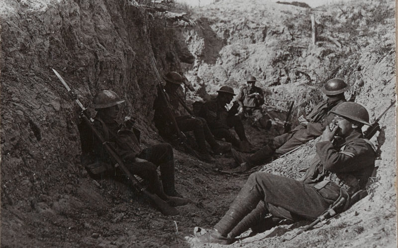 'Waiting in trenches near Arras for our creeping barrage to lift before pushing on', 1917