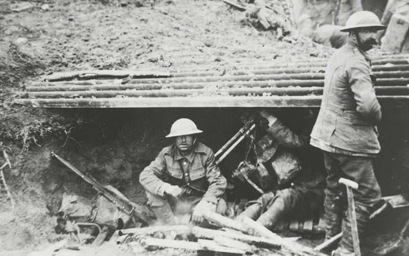 Resting in a dugout, 9 April 1917
