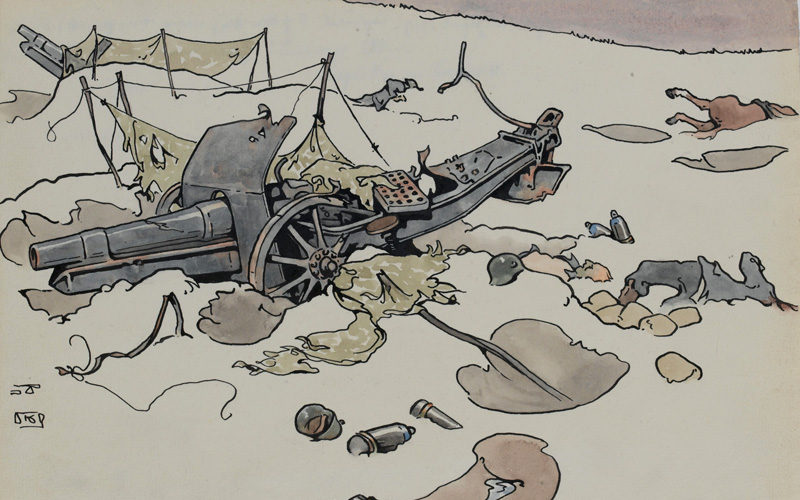 'Battle of Arras 10 April 1917 - Captured Howitzer near Fampoux: snow on the ground!' by RB Talbot Kelly