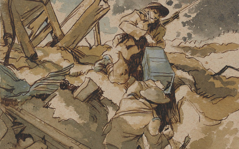 'Bringing up ammunition - Arras, 1917', by RB Talbot Kelly