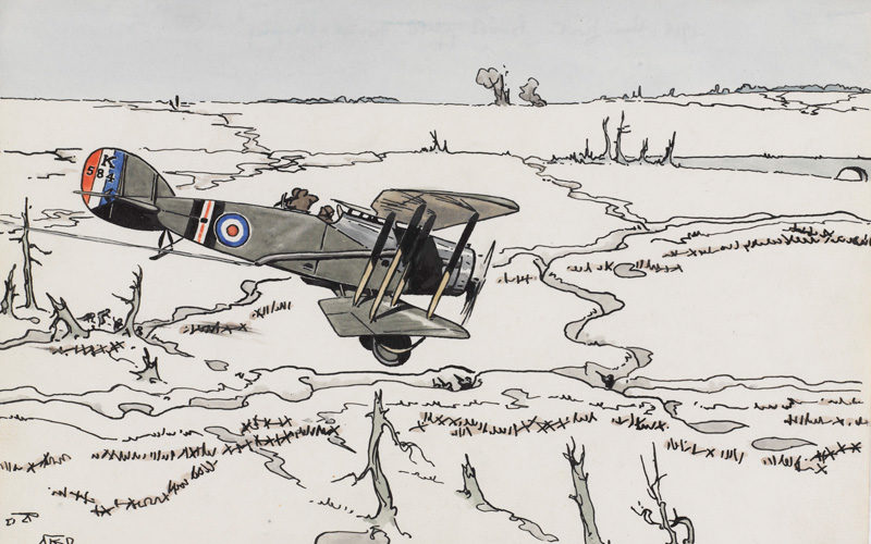 'Bristol Fighter 'ground strafing', Arras Front 1918' by RB Talbot Kelly