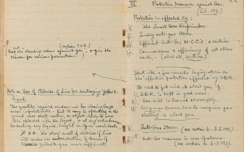 Sassoon's notebook containing notes on attacking trenches, bombing, gas and tactics, c1916