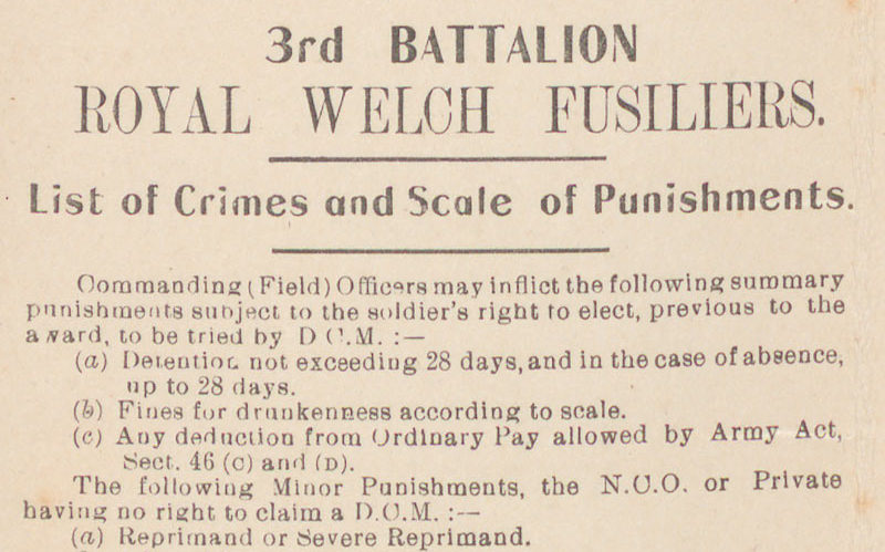 List of Crimes and Scale of Punishments leaflet for 3rd Battalion The Royal Welch Fusiliers owned by Sassoon, c1916