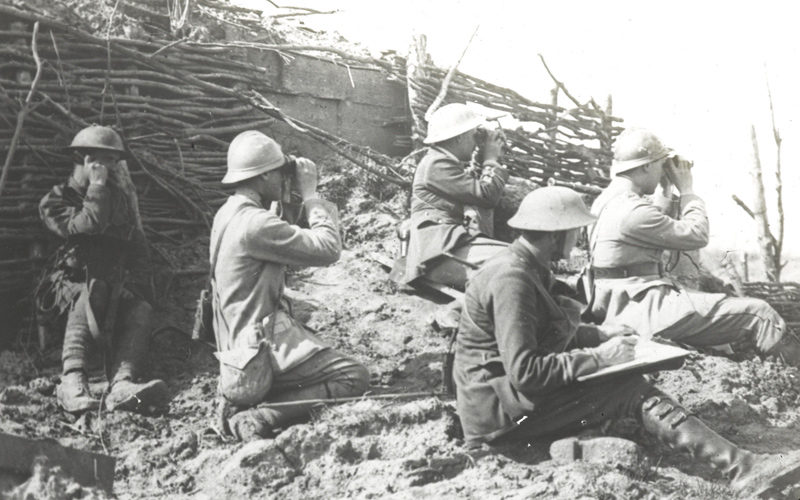 Observing the opening bombardment during the Battle of Langemarck, 16 August 1917