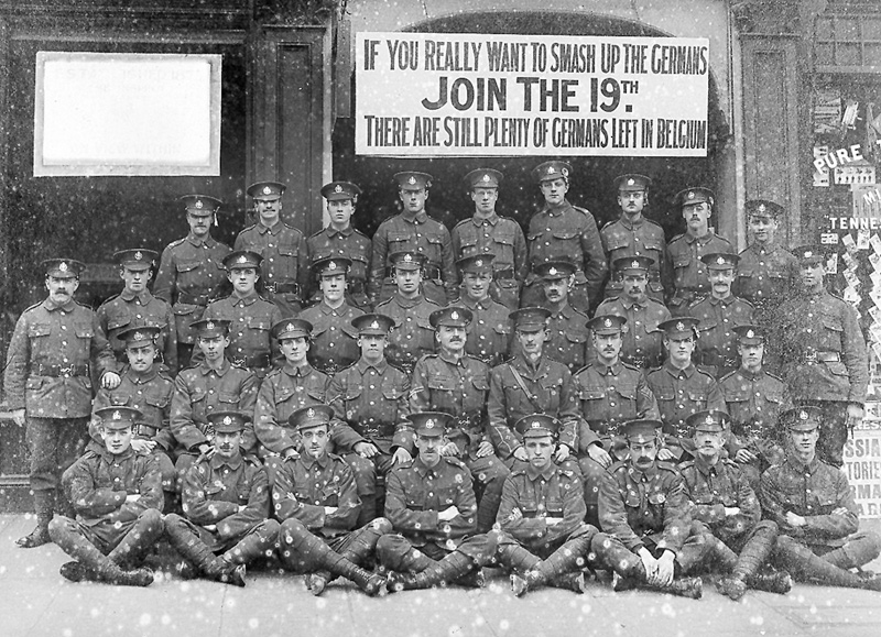 A recruitment team from The Duke of Cambridge's Own (Middlesex Regiment), c1916