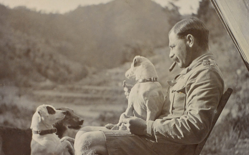 Lieutenant Walter Bagot-Chester with his dogs in India, c1910