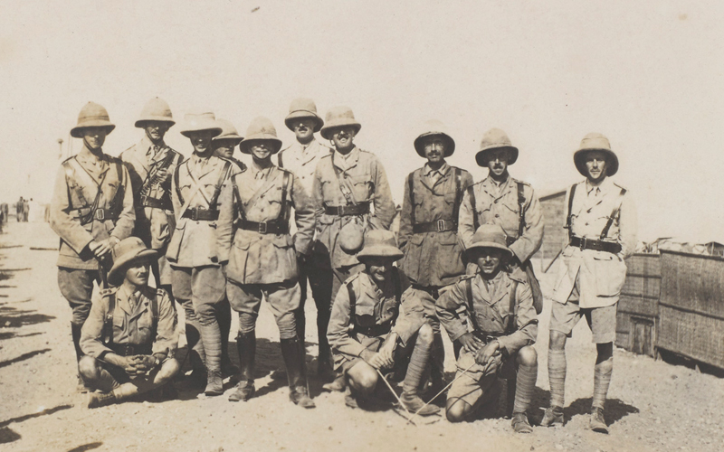 Officers of 3rd Battalion, 3rd Queen Alexandra's Own Gurkha Rifles near Rafa, 1917 Bagot-Chester stands far right