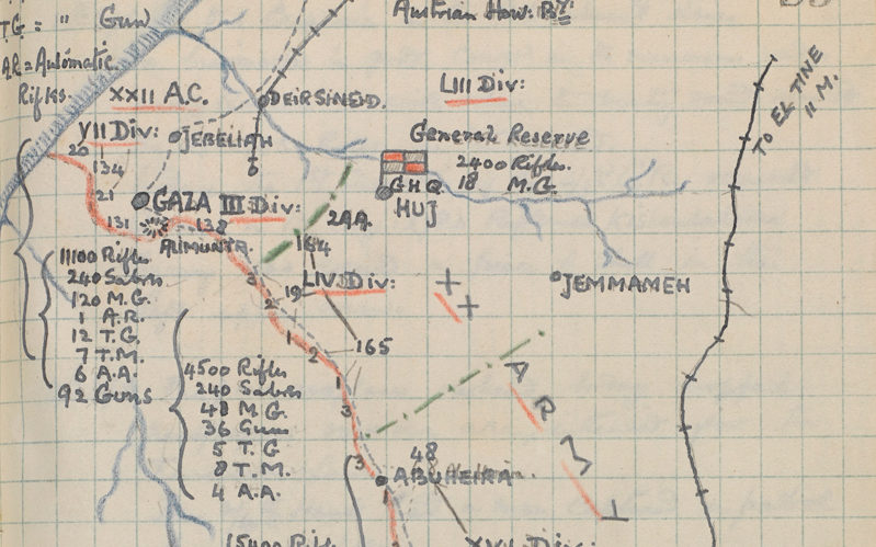 Captain Walter Bagot-Chester's sketch map of the front line near Gaza, 13 September 1917