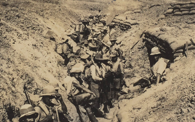 British officers and men of 3/3rd Queen Alexandra's Own Gurkha Rifles in a front line trench, 1917