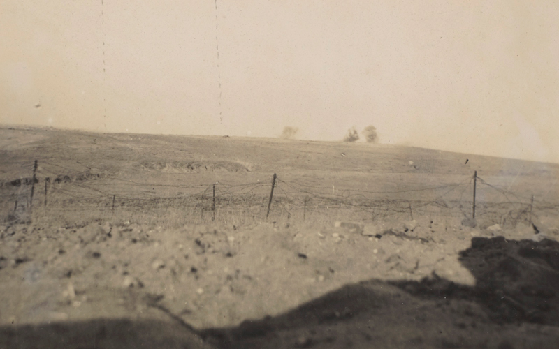 Shell bursts on Outpost Hill, part of the Gaza defences, October 1917