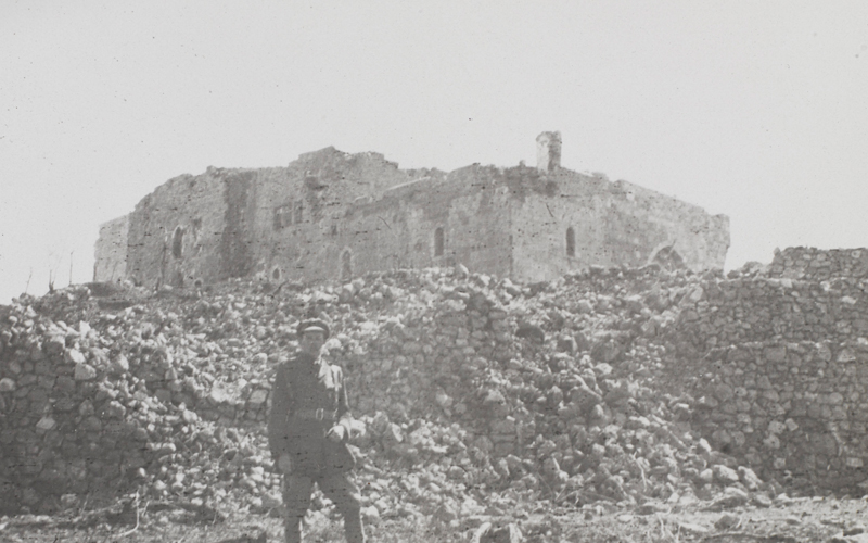 Captain Bagot-Chester in the ruins of Nebi Samwil mosque where he was wounded in November 1917