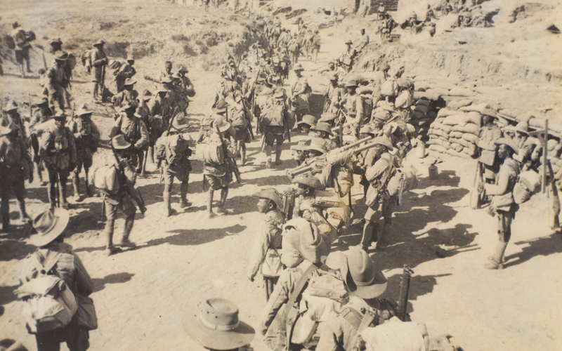 Soldiers of 3/3rd Queen Alexandra's Own Gurkha Rifles gathered in Welsh Wadi prior to the advance on Gaza, 1917