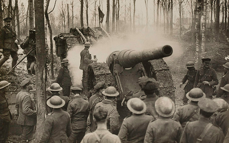 A tank towing a heavy artillery piece captured at Cambrai, 29 November 1917