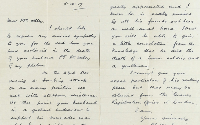Letter from Second Lieutenant D L Newbigging, The London Scottish, to Mrs Ethel A Ottley, 5 December 1917
