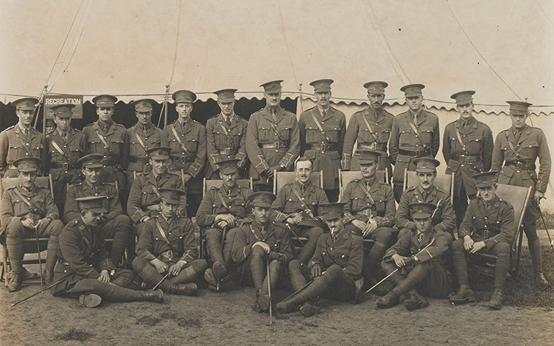Officers of 17th (Service) Battalion The Duke of Cambridge's Own (Middlesex Regiment), including McReady-Diarmid (second left front row), c1916