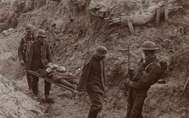 German prisoners compelled to carry the wounded, Bourlon Wood, 1917