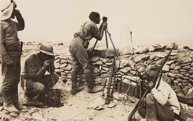 A British artillery officer with Armenians at a forward observation post, Baku, September 1918