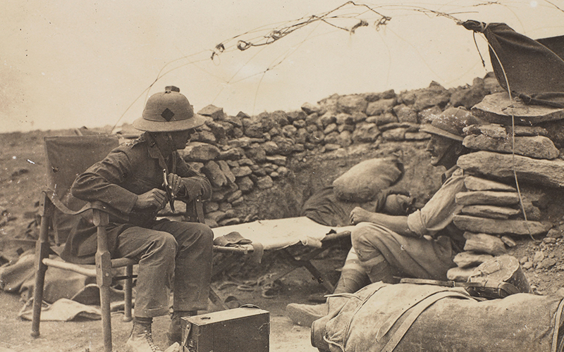 Two Dunsterforce officers sit in the 'Mud Volcano' position at Baku. On the right is Captain J W Ley, killed during the Turkish attack and unsuccessfully recommended for a Victoria Cross, September 1918