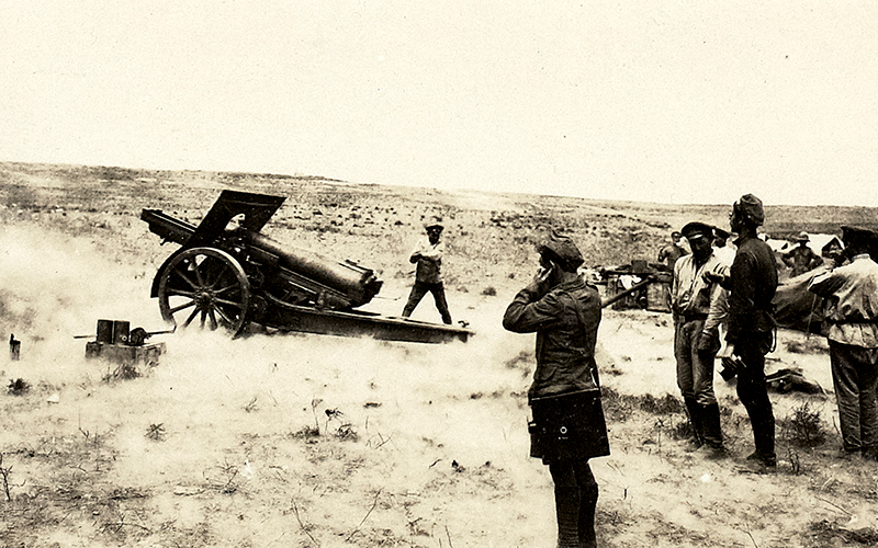 An Armenian howitzer fires at enemy positions near Baku, September 1918
