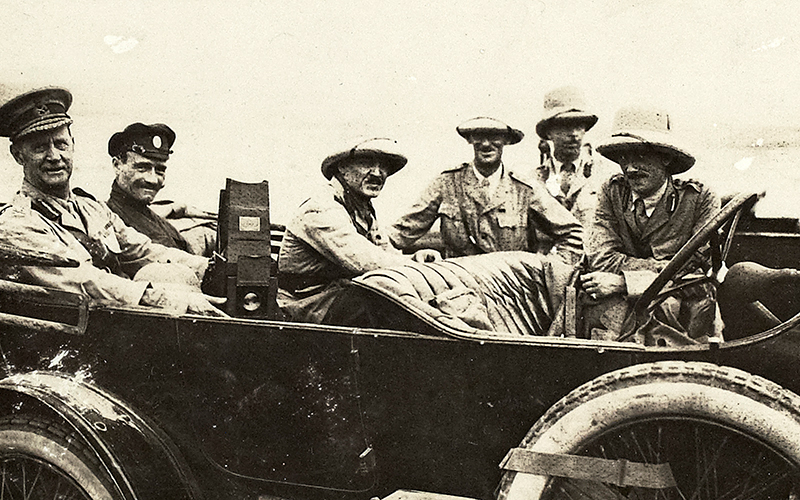 Major-General Lionel Dunsterville (first left) with British and Armenian staff officers shortly before evacuating Baku, September 1918