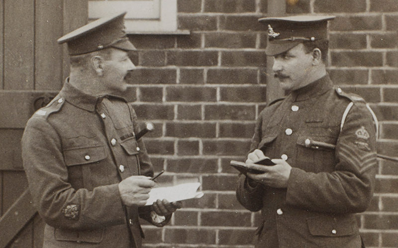 Battery Quartermaster Sergeant Samuel Pye and a colleague, c1916