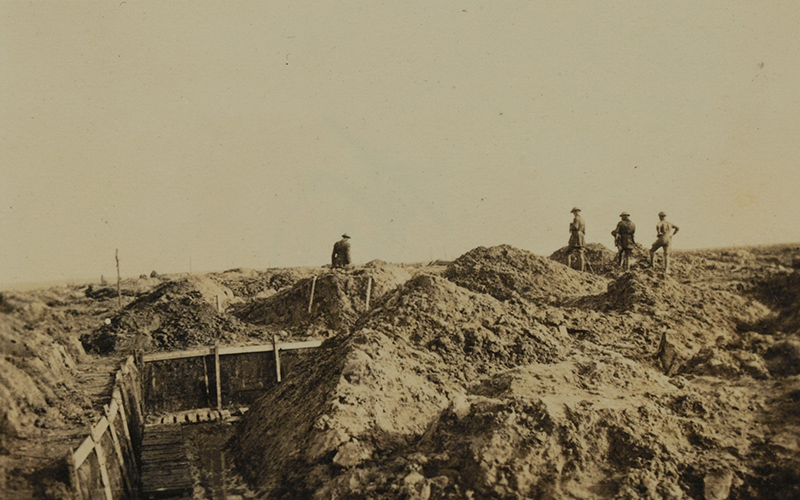 Officers of the 4th Worcestershire Regiment inspecting new defences built to resist the German offensive, April 1918