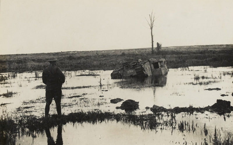 A tank destroyed in the German offensive in 1918