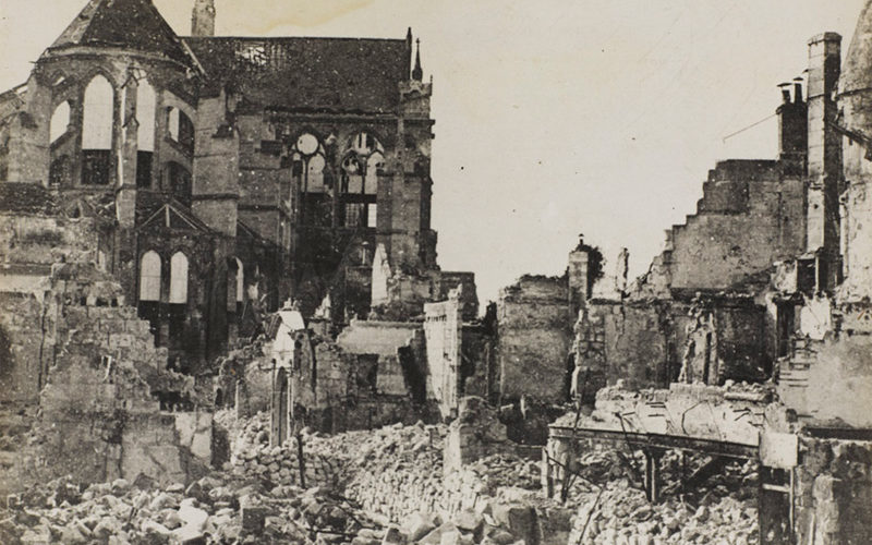 The ruins of Soissons which was captured by the Germans, May 1918