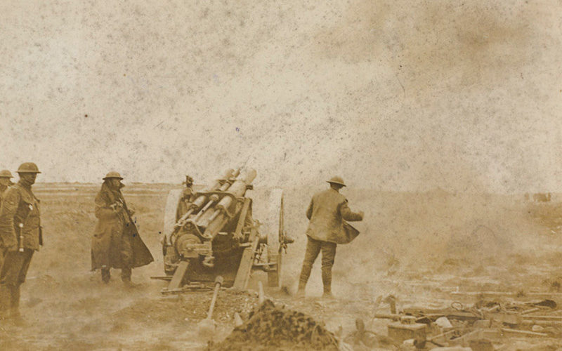 'The German Offensive. Our artillery in action impeding the Boches', 1918