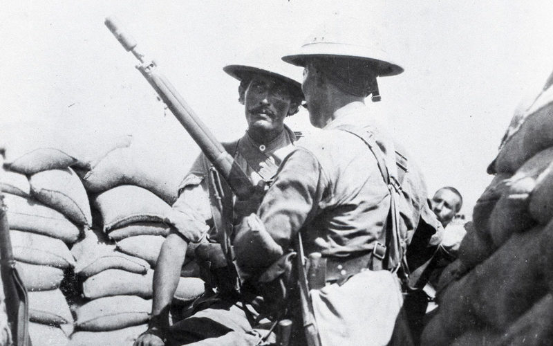 A soldier preparing to fire a rifle grenade in Mesopotamia, 1917