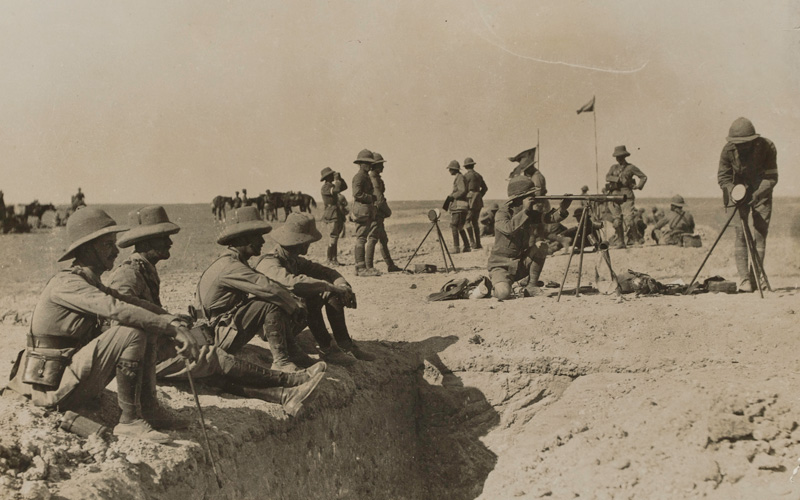 British officers watching a training exercise in Mesopotamia, 1917