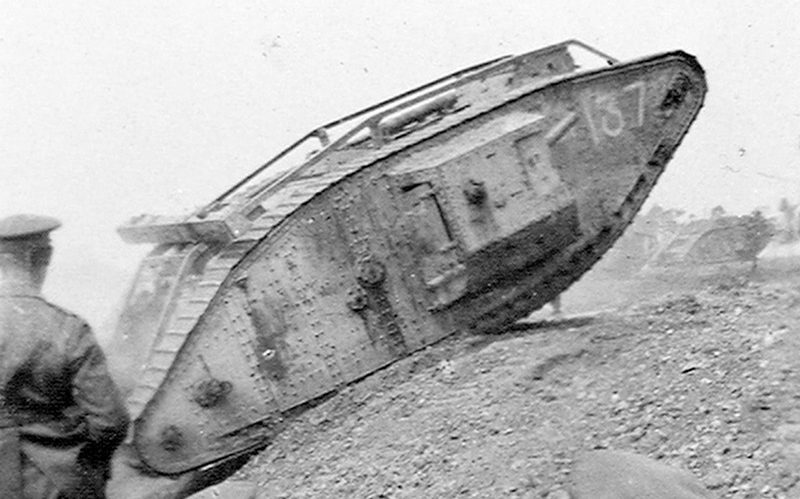 A Mark V tank, of the type used at Amiens, undertakes battle trials, 1918