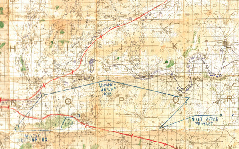 Map covering the area east of Amiens and showing the locality of the night tank attack on Proyart, August 1918