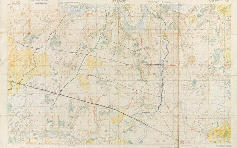 Map of Amiens area annotated to show the stop and start lines and approach to the night attack on Proyart, August 1918