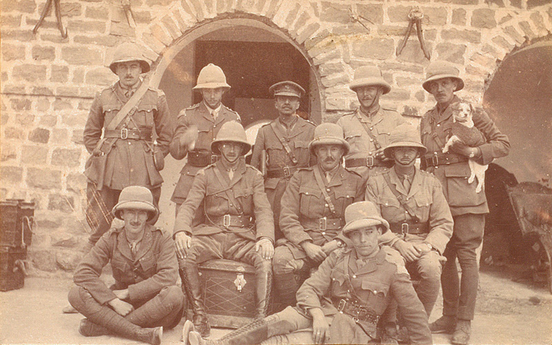 Officers of the 28th Light Cavalry (including Uloth on the right of second row) at Meshed, 1918