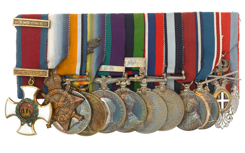 Distinguished Service Order and campaign medals awarded to Captain Heerajee Cursetjee, 1914-46