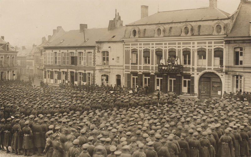 'Thanksgiving service at Le Quesnoy, 11 November 1918